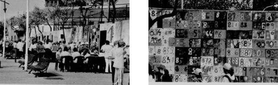 Una fira matemàtica a la Vila Olímpica de Barcelona: taules, jocs, murals, etc.